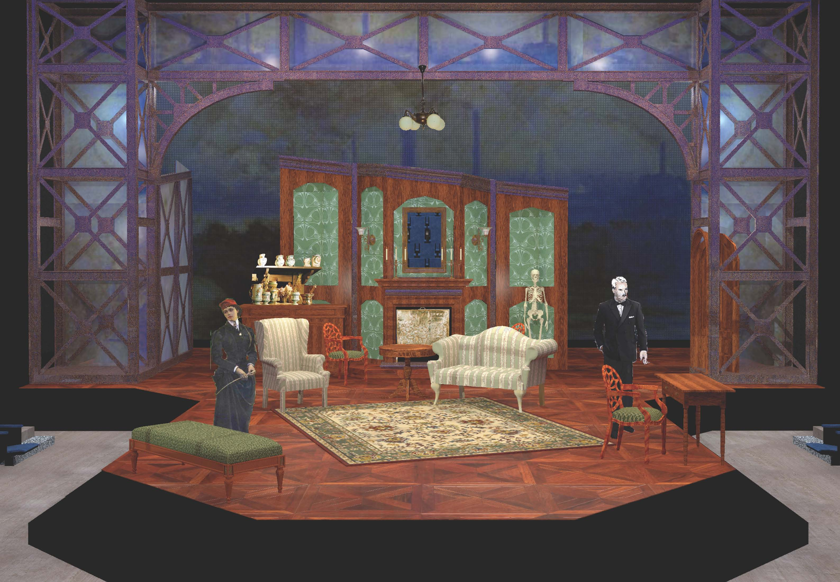 Digital Rendering of Act 1 Set: Dr. Ridgeon's Consulting Rooms