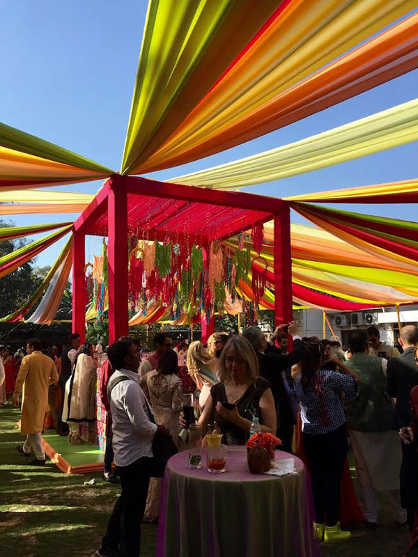 Colorful tent at a wedding in India
