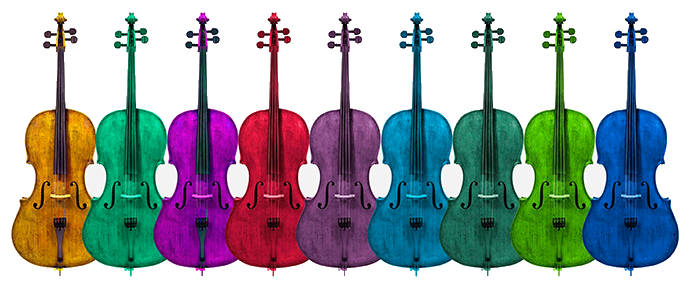 row of cellos