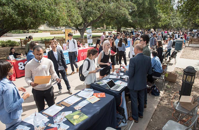 Oxy students meet with potential employers at the career fair
