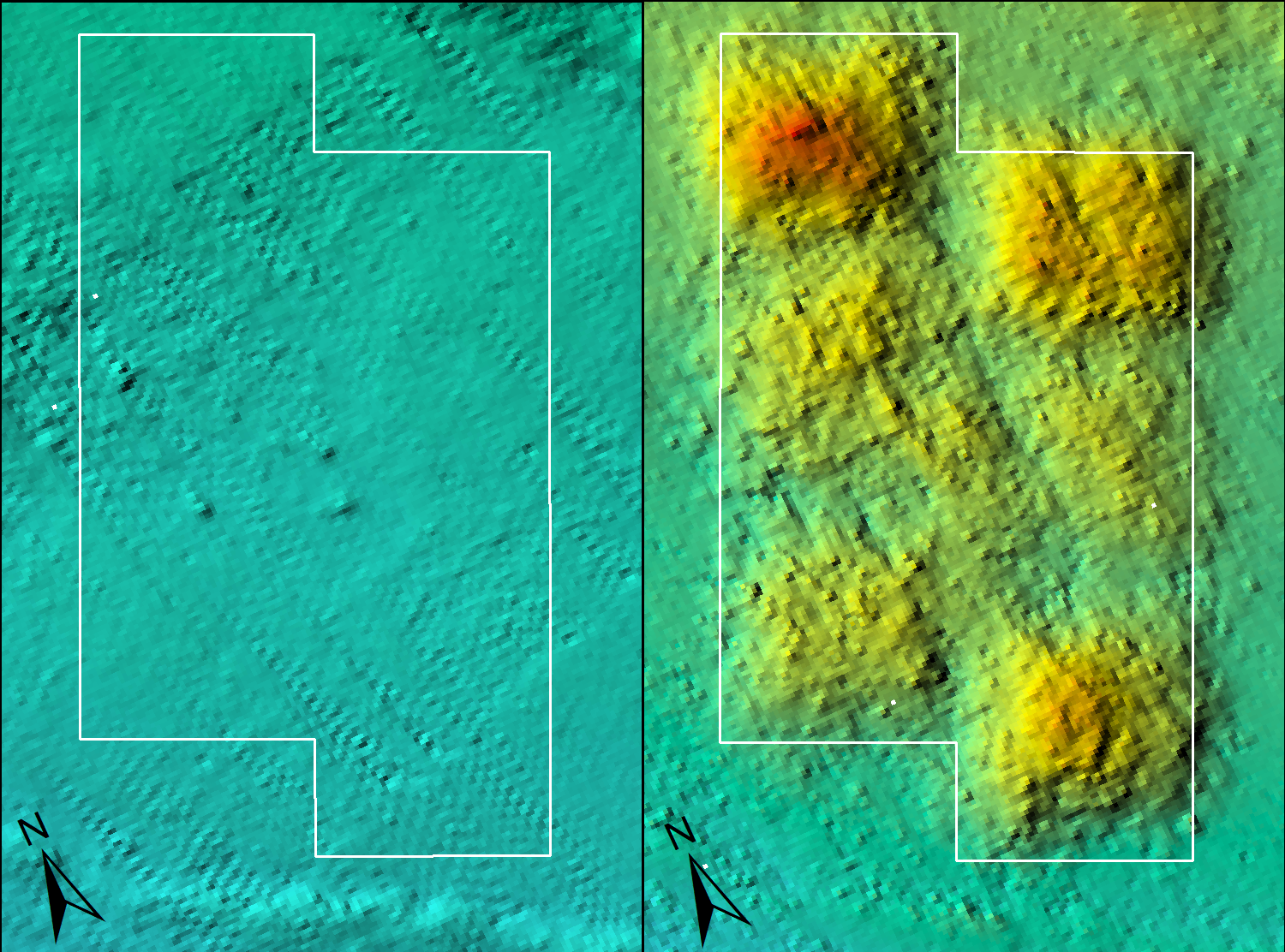 Before and after bathymetry imagery of block 2A