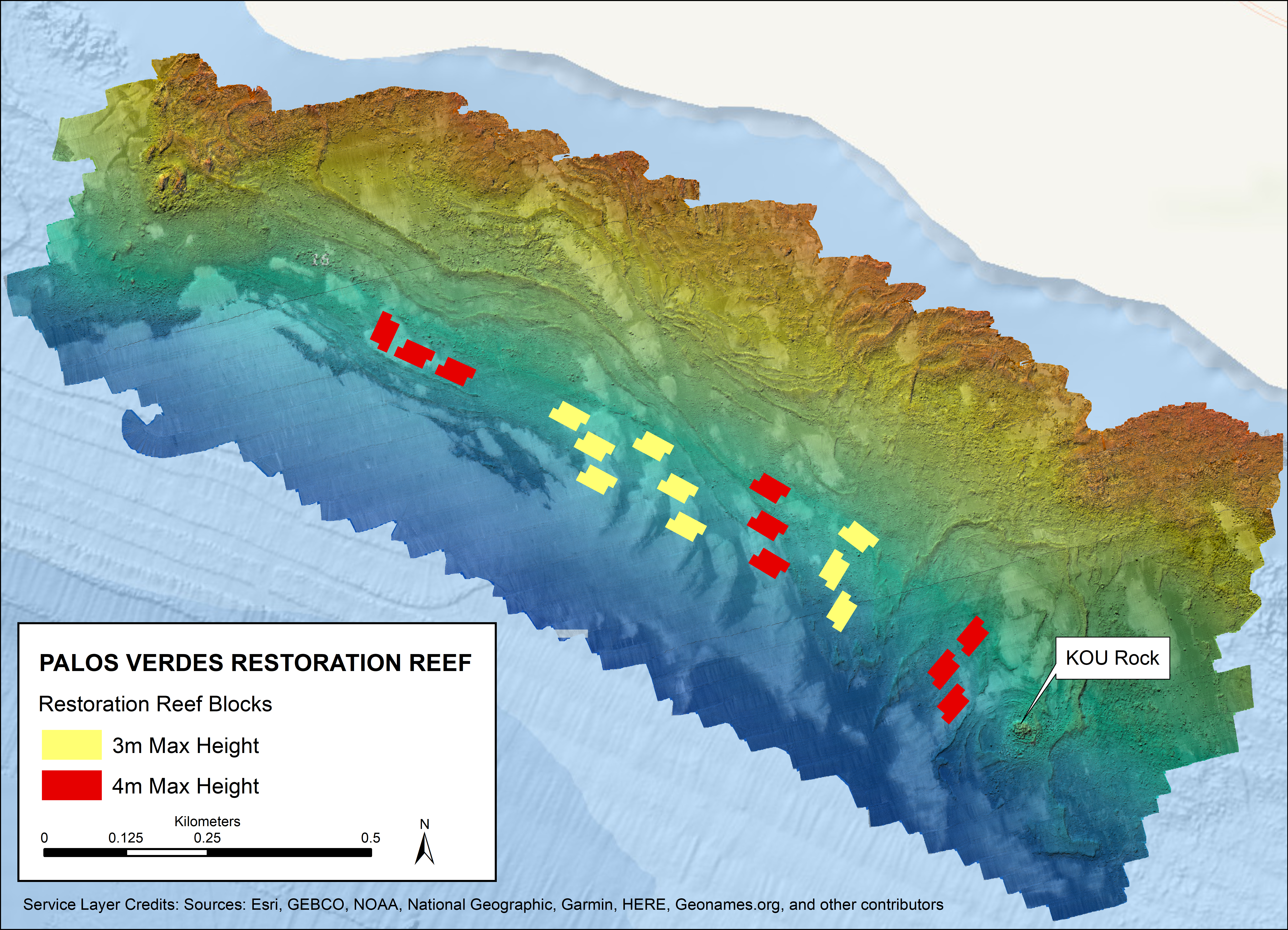 Palos Verdes Restoration Reef with bathymetry and backscatter