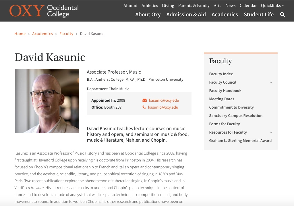 Screenshot of a faculty page