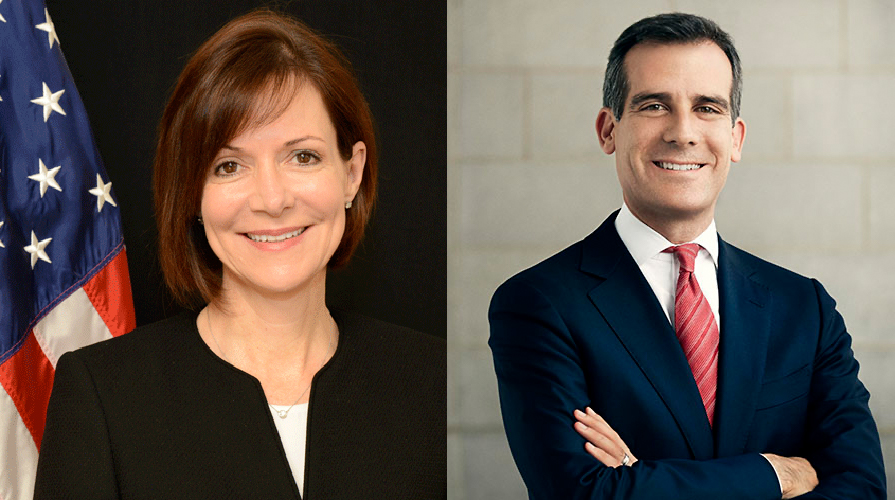 Denise Bauer and Eric Garcetti