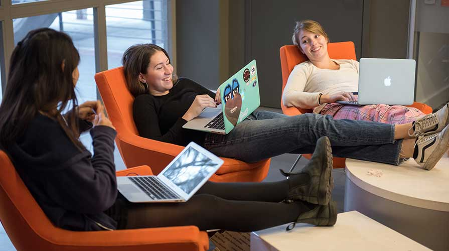 Students studying together in the student center