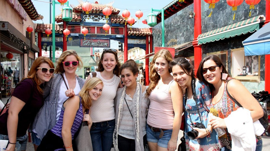 CIS students pose in Chinatown in Downtown Los Angeles