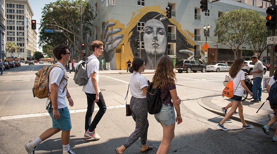 Oxy students walking through downtown LA