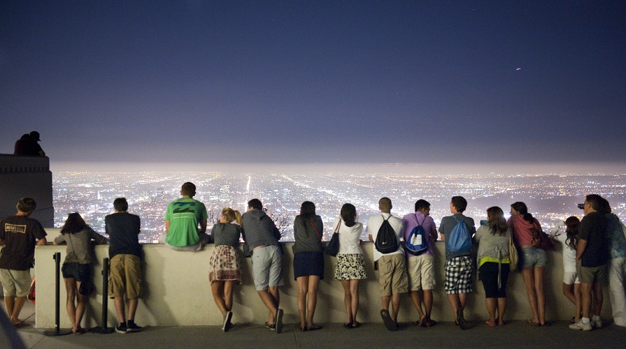 Students looking at the LA skyline at night