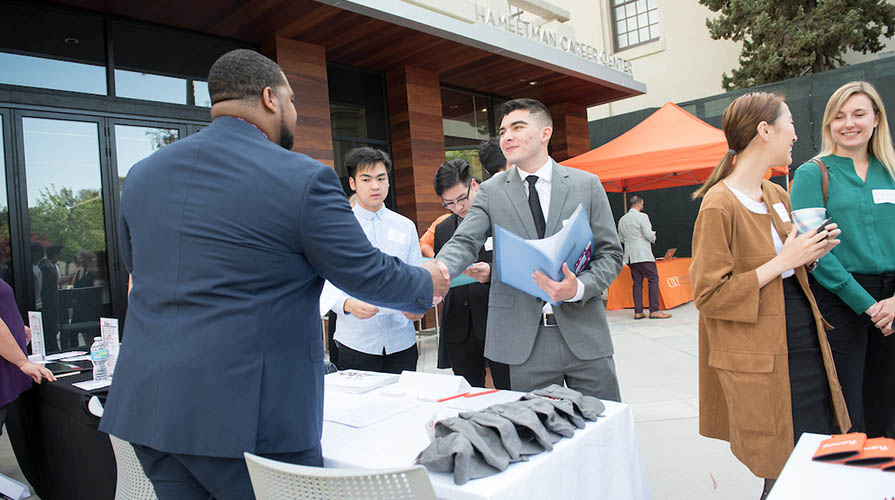 Oxy student at a career fair
