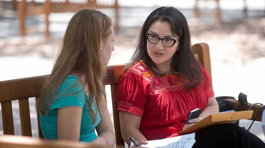 A student talks with a faculty adviser