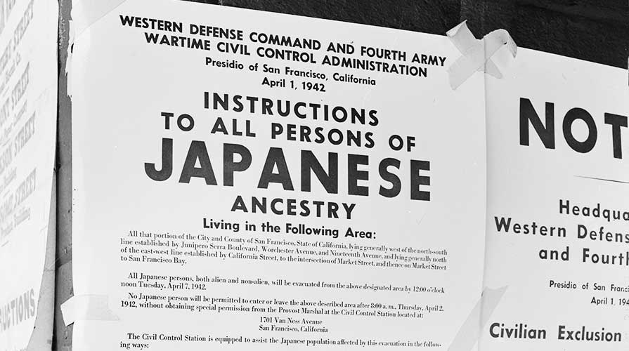 Japanese American exclusion poster from the 1940s