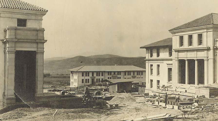 A photo from the Occidental College archives of the campus under construction
