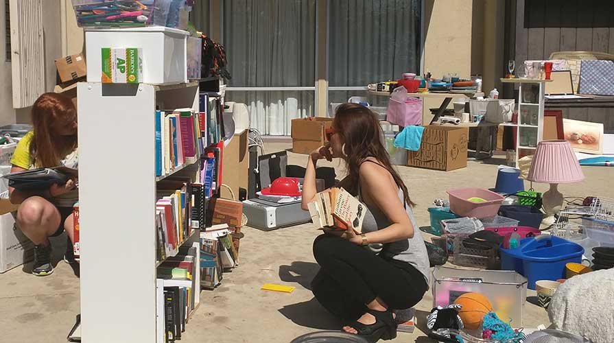 Students browsing the Sustainable ReCycle sale on campus