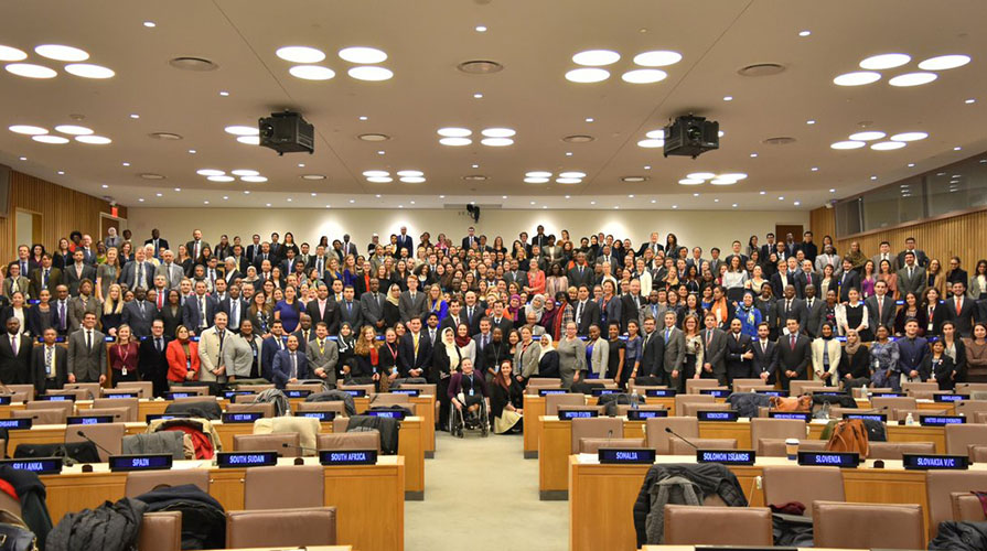 UN program participants pose at UN headquarters