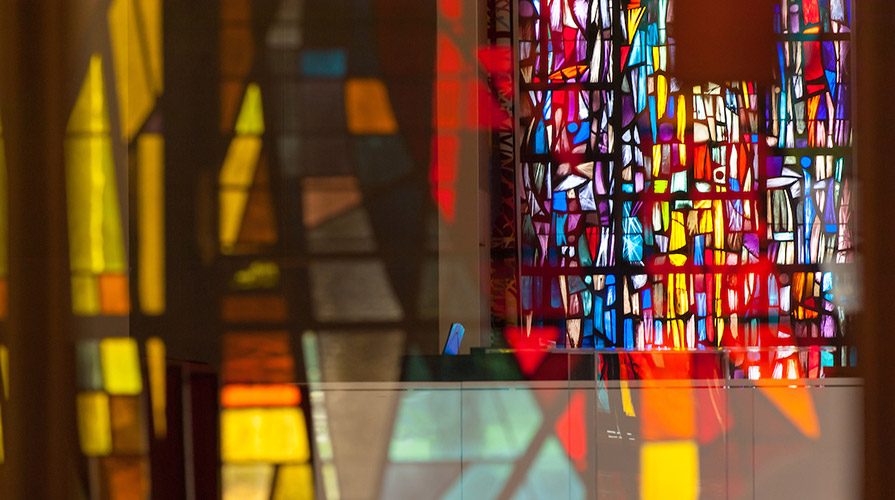 Stained glass windows at Oxy's Herrick Interfaith Chapel
