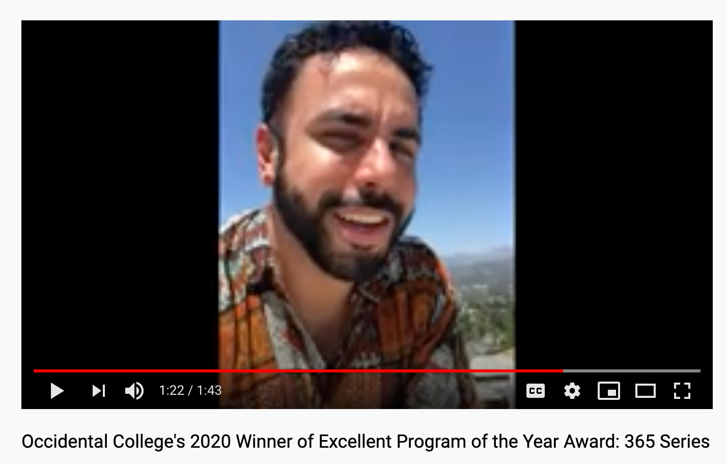 Image of Chris' Video Congratulation BSA, Esther Karpilow, and Habiba Hopson on Excellent Program of the Year Award for 365 Series