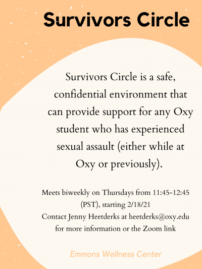 Survivors Circle flyer describing event and contact information