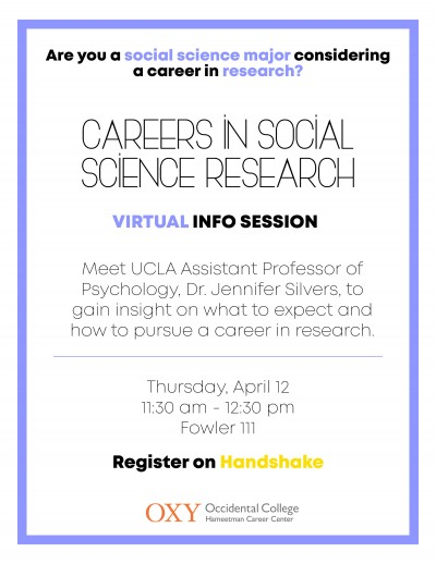 Careers in Social Science Research Virtual Info Session | Occidental