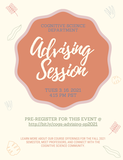 Event poster for the cognitive science advising event