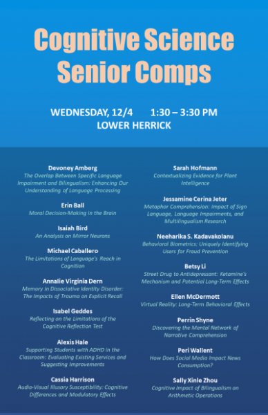 Event poster for Cognitive Science senior comps presentations