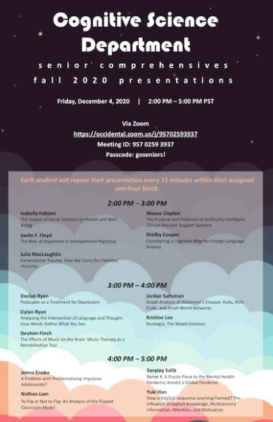 Event flyer for 2020 Cognitive Science Department senior comps presentations