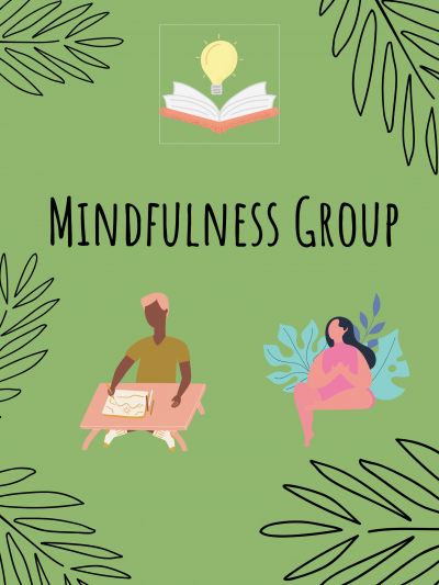 Mindfulness group text with lightbulb, book, and two figures on green background