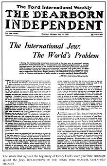 Image of front page of The Dearborn Independent