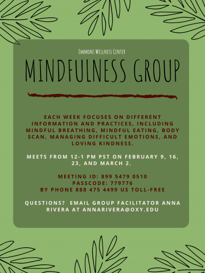 mindfulness group flyer with details about meeting dates, time, contact information