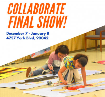 Flyer for the Collaborate Final Show, featuring a photo of two youth artists painting