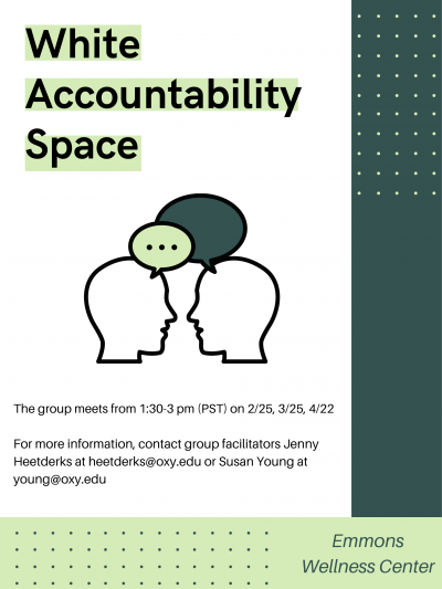 white accountability space flyer describing meeting times, dates, and contact info