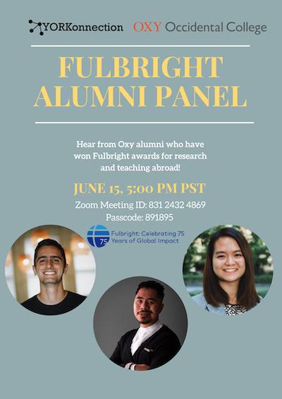 Event poster for Fulbright alumni panel