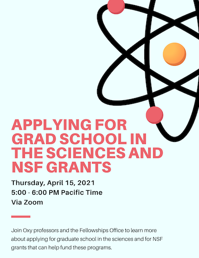 Event flyer for discussion about applying for grad school in the sciences
