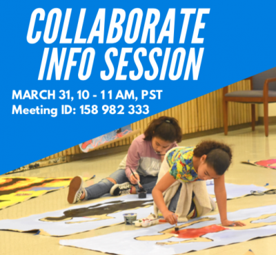 Collaborate Course Info Session Flyer - featuring image of two young artists painting