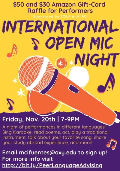 International Open Mic Night event poster
