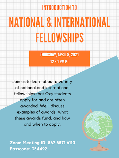 Event flyer for introduction to national and international fellowships