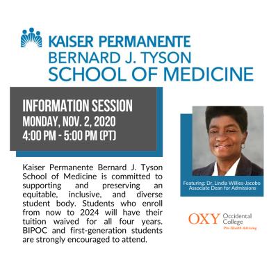 Kaiser Permanente School of Medicine Info Session Nov 2, 2020 at 4pm