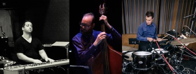 A collage of Oxy Instructors Matt Weisberg, Dave Tranchina, and Jamey Tate playing their instruments