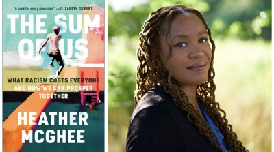 Image of the cover of the book and the author Heather McGhee