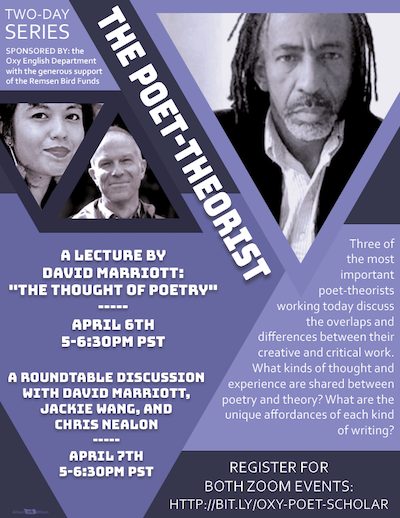 Event poster for poet theorist lecture series