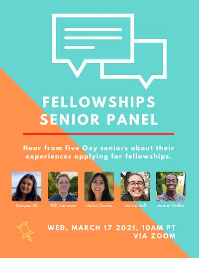 Event poster for fellowships senior panel