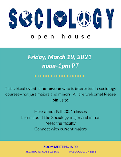 Event poster for sociology pre-advising open house