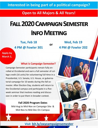 Fall 2020 Campaign Semester Info Meeting