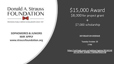 Event flyer for Strauss Scholarship webinar