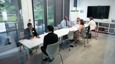 Students talk with career advisors in the Hameetman Career Center