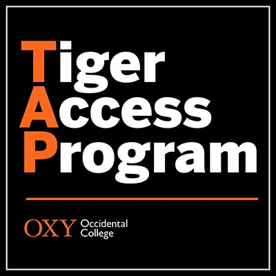 White text reads Tiger Access Program, with TAP highlighted in orange, on a black background