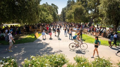 Oxy students in the Academic Quad
