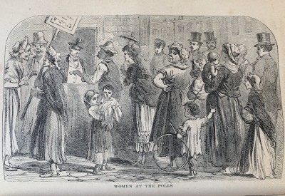 Line drawing depicting women at the polls, circa 19th century
