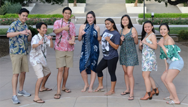 Students in the Hawaiian club