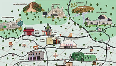 A hand-drawn map of Hollywood. Highlights: Griffith Park Observatory, Hollywood Bowl, Sunset Strip, LA LGBT Center, and more