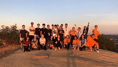 Oxy international students on a hike